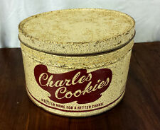CHARLES COOKIES METAL TIN VINTAGE ADVERTISING CAN ORIGINAL