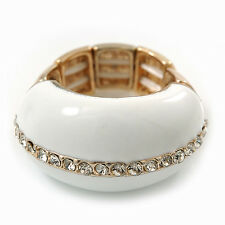 White Enamel Dome Shaped Stretch Cocktail Ring In Gold Plating - 2cm Length - Si