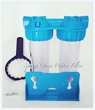 "Two Stage 10"" Clear Standard Whole House Water Filter System (1"" Port) w FIlters"