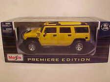 GMC Hummer H2 SUV Die-cast Car 1:18 Maisto 10 inches Yellow 4 Door