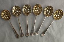 Fine Set Of Six Solid Silver Berry Fruit Spoons - 243g - Sheff. 1936