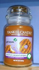 Yankee CANDLE Large Glass Jar 22oz Glass NEW - GS Cookie Coconut Caramel Stripes