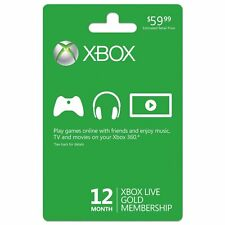 XBOX LIVE 12 MONTH GOLD GAME CARD *NEW*