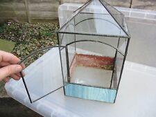 Vintage Glass Terrarium Stained Leaded Glass Planter Tub Greenhouse Brass Finial