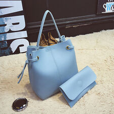 Women Leather Tote Handbag Large Messenger Satchel Shoulder Bag+Clutch Wallet