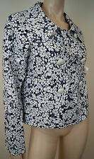BURBERRY LONDON Navy Blue White Cotton Blend Floral Print Blazer Jacket UK10 US8