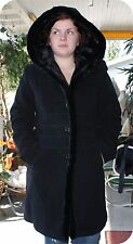 G C COLLECTION GALLERY WOOL HOODED FAUX FUR LINED COAT PETITE MED.