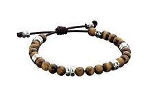 Fred Bennett Gents Sterling Silver & Tigerseye Adjustable Bracelet B3905