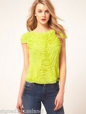 Karen Millen Ribbon Applique Frayed Lime Cap Sleeve Shirt Blouse Top 14 42