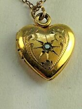 """Antique Victorian Gold Filled 12"""" Heart Locket Pendant Opens for Pictures"""