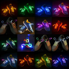 Fun LED Waterproof Shoelaces Fiber Optic Neon Glow In The Dark Stick Rave Party