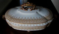 ANTIQUE GOLD ROYAL WORCESTER COVERED TUREEN CRAB FINIAL ELEPHANT HANDLES EX-COND