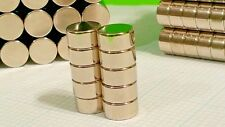 "10 Large Neodymium N52 disk magnets. Super Strong Rare Earth 1/2"" x 3/16"""