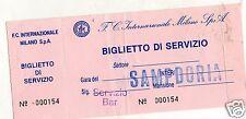 CALCIO   BIGLIETTO  DI SERVIZIO  INTER  SAMPDORIA
