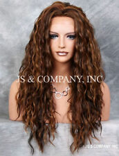 Brown Auburn Blonde mix HEAT SAFE Lace Front wig Curly Wavy NUO 4-27-30