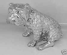 Chrome Silver Electro Sitting British Bulldog Ornament diamonte collar by roost