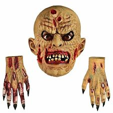 ZOMBIE LATEST MASK & HANDS GLOVES - WALKING DEAD HALLOWEEN FANCY DRESS COSTUME