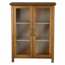Curio Cabinet Oak Wood 2 Glass Doors Display Case Floor Storage Home Furniture