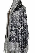 Gorgeous Pashmina & Silk Paisley Shawl-Black/White#A