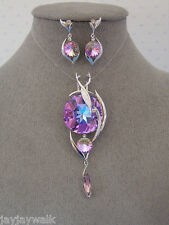 SWAROVSKI VITRAL LIGHT ELEMENTS PENDANT & EARRINGS WITH NECKLACE PLATINUM PLATED