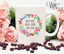 LOVE FLORAL COFFEE MUG TEA CUP BIRTHDAY MOTHERS DAY PERSONALISED PRESENT GIFT