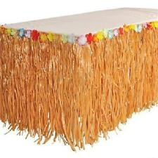HAWAIIAN GRASS HULA TABLE SKIRT Luau Party w/Tropical Leis Flowers Free Shipping