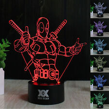 Marvel Deadpool 3D LED Night Light Touch Switch Table Desk Lamp 7 Colour Gifts