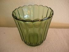 """Vintage 1950s INDIANA GREEN GLASS VASE BOWL BUCKET 5.5"""" FLARED RIBBED SCALLOPED"""