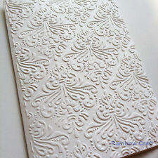 5 Blank Embossed Cards and Envelopes - Damask Card Making Scrapbooking
