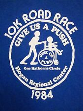 Vintage 10K Road Race Give Us A Push 1984 80's Marathon Run Hogan T Shirt XS m
