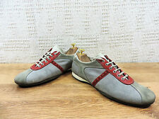 Prada Men's Classic Italian silver red suede trainers sneakers UK 9 US 10 EU 43