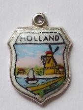 Holland Vintage Plata y esmalte encanto de viaje