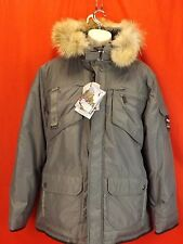 NWT PAJAR CANADA GRAY NYLON COYOTE FUR HOODIE WINTER JAMES GOOSE DOWN PARKA L