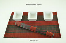 6 Handmade Bamboo Placemats Handmade Table Mats, Bordeaux Red-Black, P006