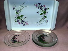 """Lot 5 Arcoroc France J Walsh Violets Clear 8"""" Plates &  Matching Serving Tray"""