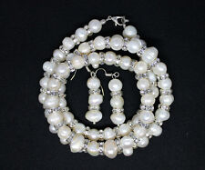 Cream Glass Natural Pearl Necklace Bracelet Earring Bride Prom Jewellery Set