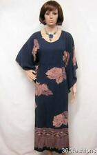 PLUS SIZE RETRO FLORAL KAFTAN MAXI DRESS NAVY 16 18 20 22 24 26 28 30 32