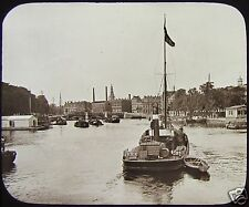 GWW Glass Magic Lantern Slide ON THE AMSTEL AMSTERDAM C1890 NETHERLANDS PHOTO
