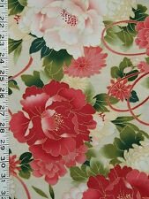 1/4 YD RED ROOSTER SERENITY LARGE SCALE PEONY MUMS FQ COTTON BEIGE FABRIC