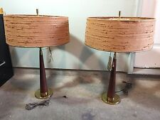Vintage 60's Era Pair Rembrandt Teak Table Lamps -Original Tags!!-