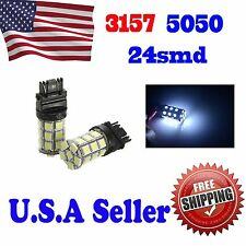 2 x Xenon White 3157 LED 24 Smd 5050 Backup Reverse Light Bulbs 3157A 3057 3047