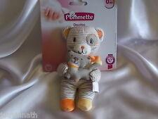 Doudou ours rayé beige, blanc et son chat, Pommette