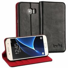 Luxury Samsung Galaxy S7 Wallet Case, Lecxci Genuine Leather Flip Folio Cover