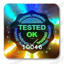 490x LARGE TESTED OK Security Hologram Stickers, 20mm Square Labels, QC Checked