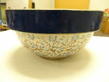 RARE Vintage Mixing Stone Ware Dough Making SPECKELED Pottery Bowl 9 ""