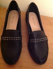 NEW LOOK Ladies Black Studded Loafer Shoes Size UK 5 EU38 BNWT smart Flat