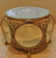 Vintage Ormolu Gold Filigree Beveled Glass Vitrine Jewelry Casket Trinket Box