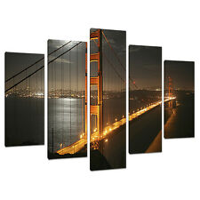 Cinq photos toile Art mur de SAN FRANCISCO GOLDEN GATE ponts 5038
