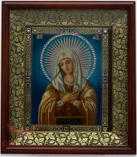 Wooden & basma Orthodox Christian Icon God Mother Virgin of Tenderness Умиление