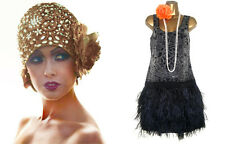 WAREHOUSE 1920's Beaded Embellished Feathers Flapper Gatsby Charleston Dress 8